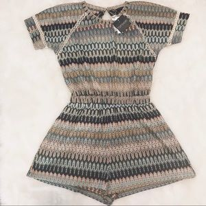 NWT [Topshop] Multi-Colored Knit Cut Out Romper